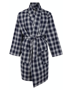 Bigdude Woven Check Dressing Gown Navy/White