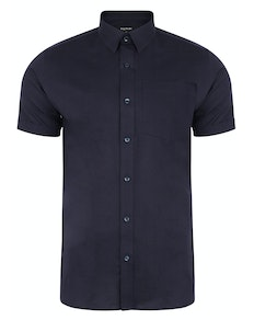 Bigdude Short Sleeve Linen Woven Shirt Navy Tall