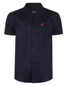 Bigdude Relaxed Collar Short Sleeve Shirt Navy Tall