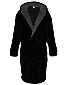 D555 Newquay Super Soft Hooded Fleece Dressing Gown Black
