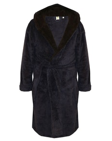 D555 Newquay Super Soft Hooded Fleece Dressing Gown Navy