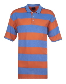 Espionage Auto Stripe Polo Shirt Blue Coral