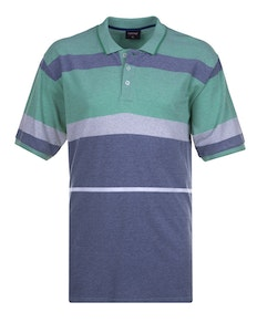 Espionage Engineered Stripe Polo Shirt Blue Green