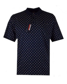 Espionage Floral Print Polo Shirt Navy