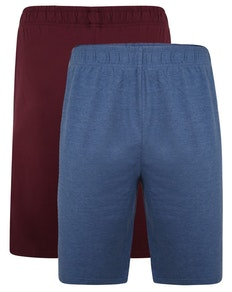 Bigdude Twin Pack Classic Pyjama Shorts Denim Marl/Burgundy