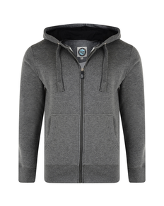 Kam Full Zip Plain Hoodie Tall Charcoal