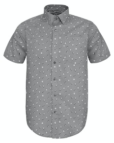 Bigdude Short Sleeve Penguin Print Shirt Grey