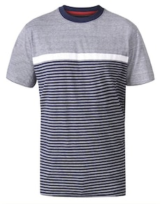 D555 Perkins Cut And Sew Jacquard T-Shirt Navy