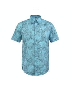 Bigdude Short Sleeve Pineapple Print Shirt Blue Tall