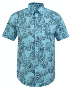 Bigdude Short Sleeve Pineapple Print Shirt Blue