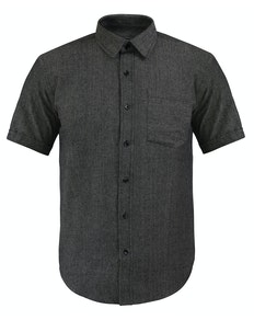 Bigdude Short Sleeve Textured Shirt Charcoal