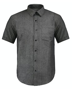 Bigdude Short Sleeve Textured Shirt Charcoal Tall