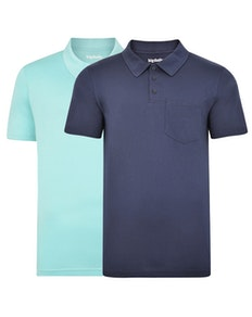 Bigdude Jersey Polo Shirt With Pocket Twin Pack Navy/Turquoise