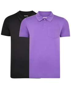 Bigdude Jersey Polo Shirt With Pocket Twin Pack Black/Purple
