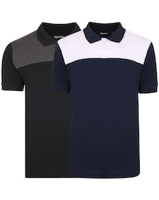 Bigdude Color Block Polo Shirt Twin Pack Black/Navy