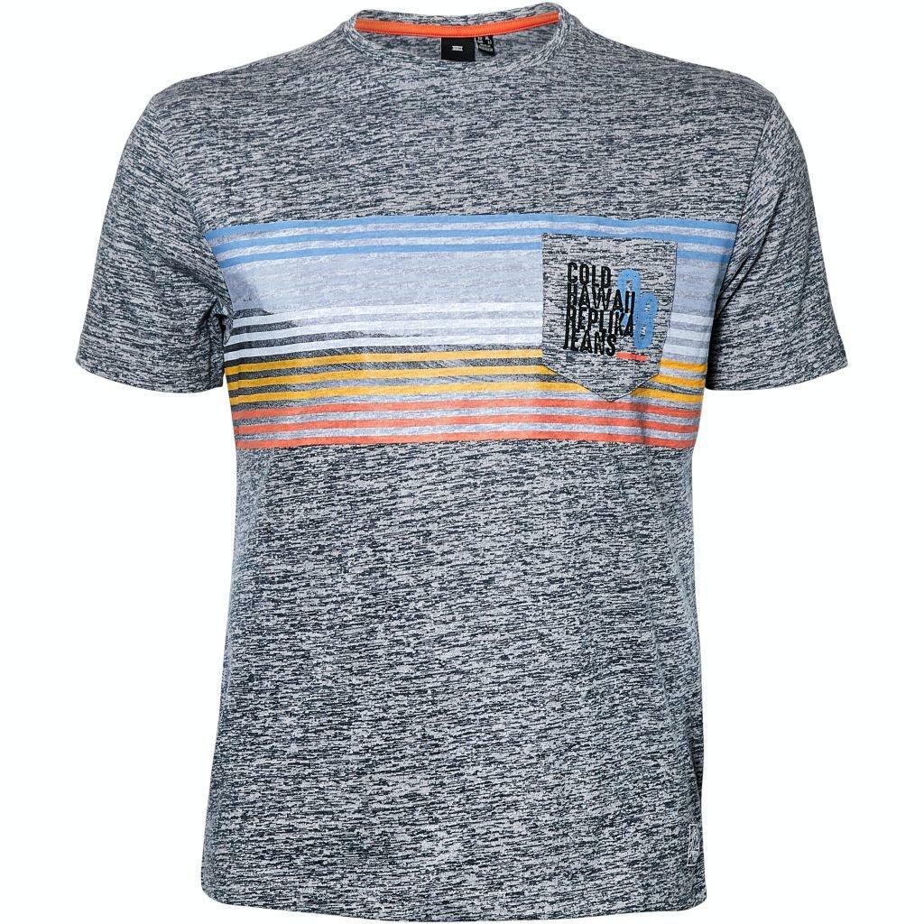 Replika Stripe Printed T-shirt Grey