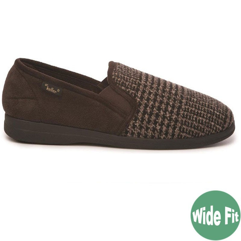 "Dr Keller ""Dr Rockwell"" Dogtooth Wide Fit Slipper Brown"