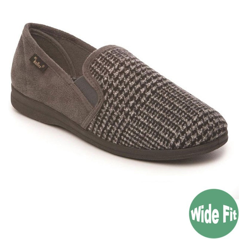 "Dr Keller ""Dr Rockwell"" Dogtooth Wide Fit Slipper Grey"