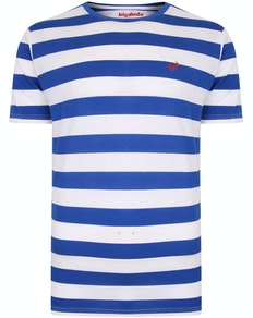 Bigdude Logo Striped T-Shirt Royal Blue/White