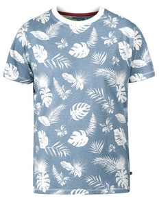 D555 Rudd Hawaiian Print T-Shirt Sky Blue