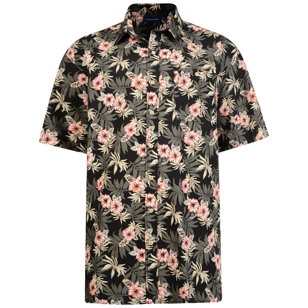Espionage Hawaiian Shirt Black/Brown