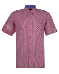 Espionage Small Gingham Check Short Sleeve Shirt Red