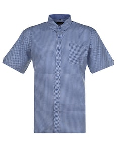 Espionage Small Gingham Check Short Sleeve Shirt Blue