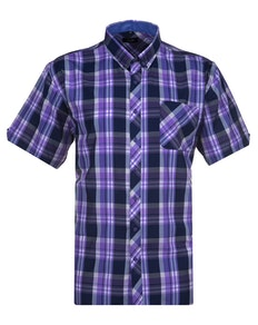 Espionage Large Check Short Sleeve Shirt Navy/Purple