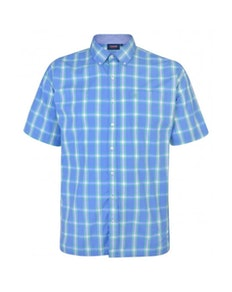 Espionage Traditional Short Sleeve Check Shirt Blue/Lime