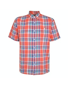 Espionage Short Sleeve Check Shirt Coral
