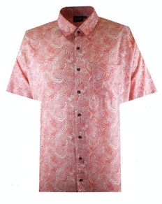 Espionage Pineapple Print Short Sleeve Shirt Coral