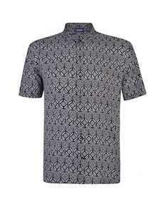 Espionage Tribal Print Short Sleeve Shirt Black/White
