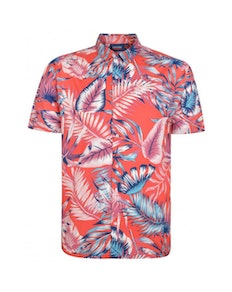 Espionage Leaf Print Short Sleeve Shirt Red