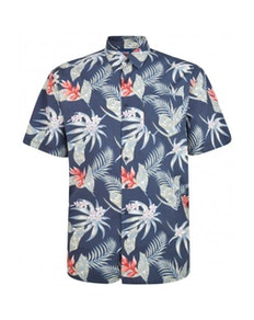 Espionage Washed Floral Print Short Sleeve Shirt Navy