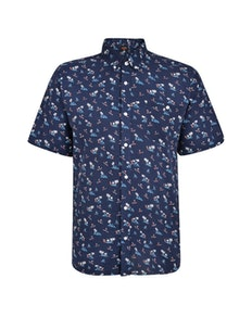 Espionage Palm Print Short Sleeve Shirt Navy