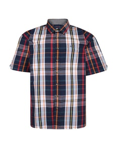 Espionage Short Sleeve Check Shirt Navy/Red
