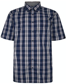 Espionage Short Sleeve Check Shirt Navy/Gold