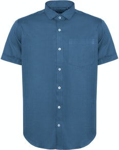 Bigdude Fine Twill Short Sleeve Shirt Blue