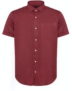 Bigdude Fine Twill Short Sleeve Shirt Burgundy