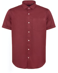 Bigdude Fine Twill Short Sleeve Shirt Burgundy Tall