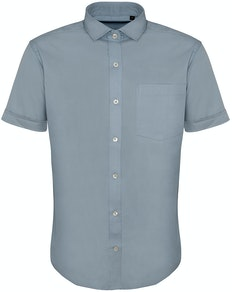 Bigdude Fine Twill Short Sleeve Shirt Light Blue