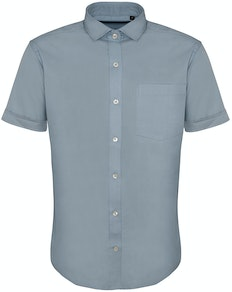 Bigdude Fine Twill Short Sleeve Shirt Light Blue Tall