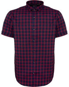 Bigdude Fine Check Short Sleeve Shirt Navy/Red