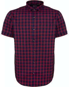 Bigdude Short Sleeve Fine Check Shirt Navy/Red Tall