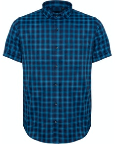 Bigdude Fine Check Short Sleeve Shirt Navy/Turquoise Tall
