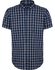 Bigdude Fine Check Short Sleeve Shirt Navy/White