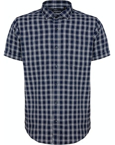 Bigdude Fine Check Short Sleeve Shirt Navy/White Tall