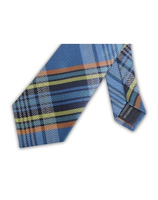Knightsbridge Extra Long Checked Tie Sky Blue