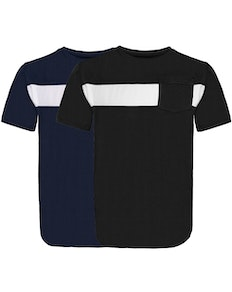Bigdude Stripe Crew Neck T-Shirt Twin Pack Black/Navy
