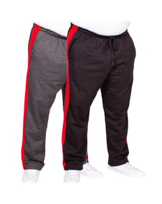 Bigdude Straight Leg Jogger With Stripe Twin Pack Black/Charcoal
